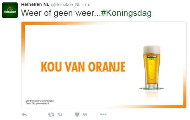 Inhaker biermerk Heineken Koningsdag 2016