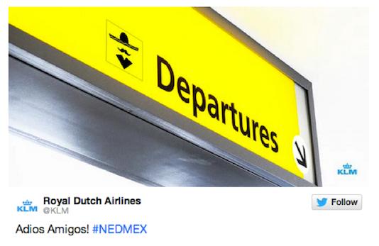Inhaker KLM Nederland Mexico WK voetbal 2014