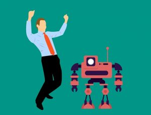 Juichende man met robot