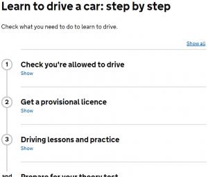 Fragment van stappenplan voor autorijden op gov.uk