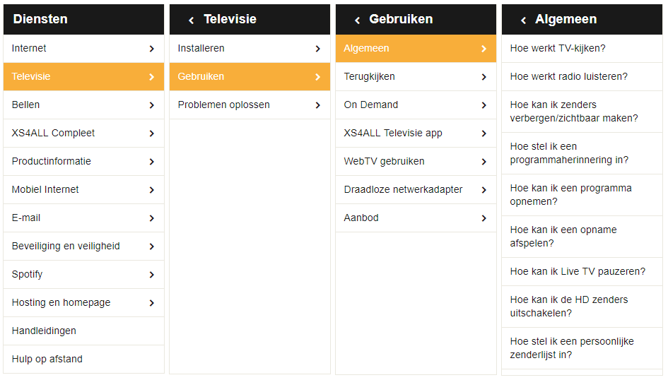 Bekijk hoe XS4All een User Guided Search inzet