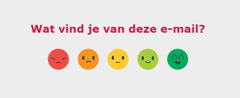 Een poll met blije en teleurgestelde smileys in een e-mail van Eneco