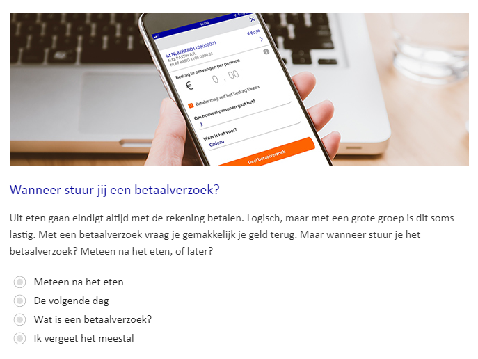Een poll over het betaalverzoek van de Rabobank in een e-mail