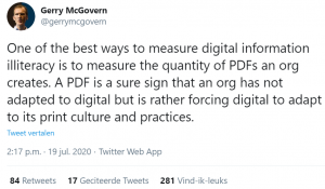 One of the best ways to measure digital information illiteracy is to measure the quantity of PDFs an org creates. A PDF is a sure sign that an org has not adapted to digital but is rather forcing digital to adapt to its print culture and practices.